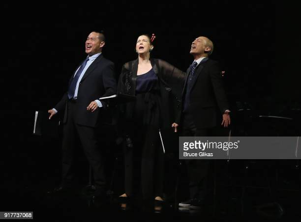 Darren Lee Harriet Harris and Francis Jue perform at the 'Thoroughly Modern Millie' 15th Anniversary Reunion Concert at The Minskoff Theater on...