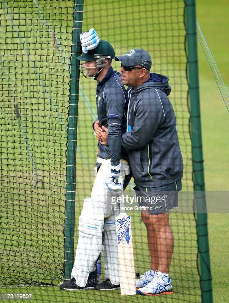 Darren Lehmann and Michael Clarke of Australia talk during a net session at Trent Bridge on July 8 2013 in Nottingham England