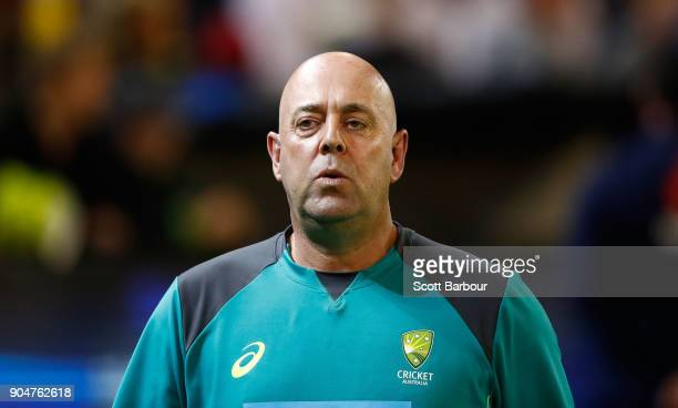 Darren Lehmann Australian coach looks on during game one of the One Day International Series between Australia and England at Melbourne Cricket...