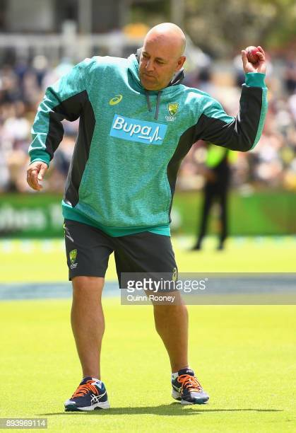 Darren Lehmann coach of Australia does fielding practise during day four of the Third Test match during the 2017/18 Ashes Series between Australia...