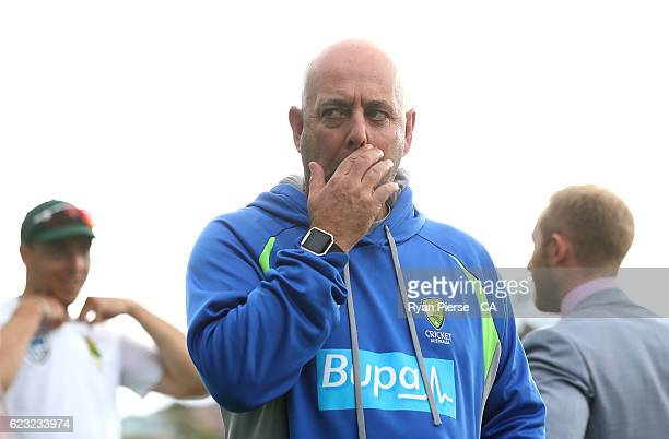 Darren Lehmann coach of Australia looks on after day four of the Second Test match between Australia and South Africa at Blundstone Arena on November...