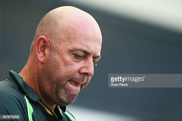 Darren Lehmann coach of Australia looks on during Day Five of the First Test between Pakistan and Australia at Dubai International Stadium on October...