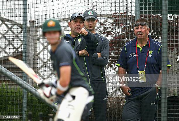 Darren Lehmann coach of Australia Michael Clarke of Australia and Rod Marsh Australian Selector look on during an Australian Training Session at The...