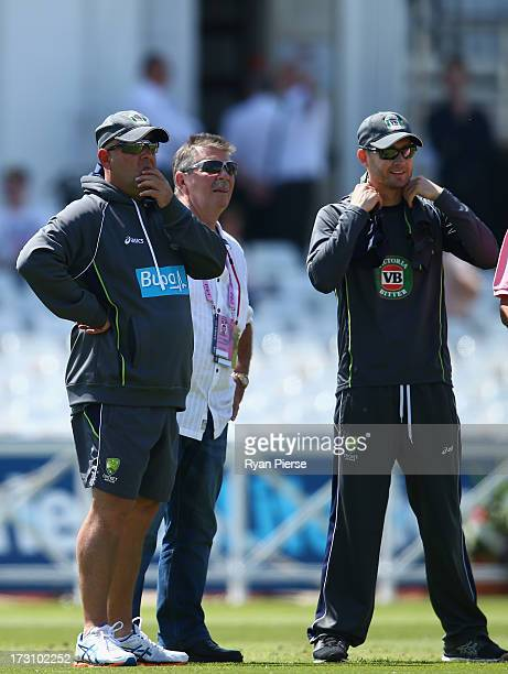 Darren Lehmann coach of Australia Rod Marsh Australian Selector and Michael Clarke of Australia look on during an Australian Training Session at...