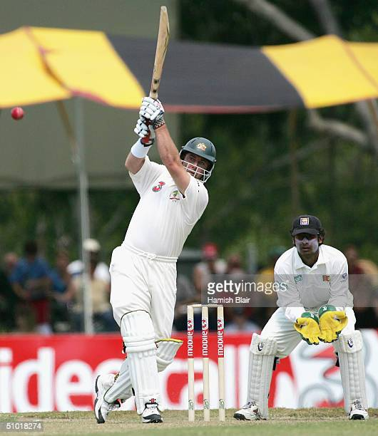 Darren Lehmann of Australia in action during day two of the First Test between Australia and Sri Lanka played at Marrara Oval on July 2 2004 in...