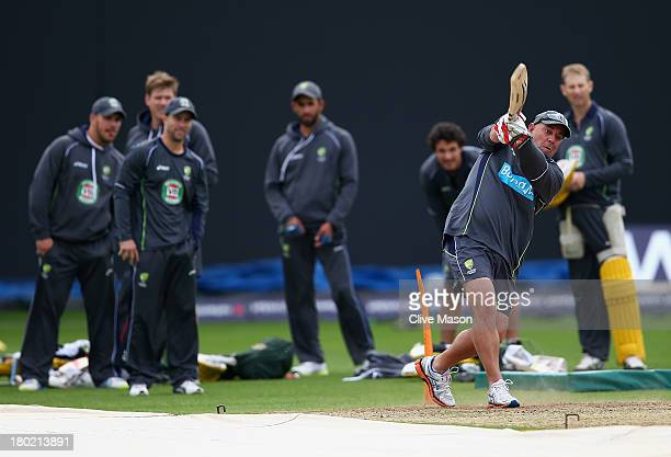 Darren Lehmann of Australia joins in during a net session ahead of the third NatWest One Day International Series match between England and Australia...