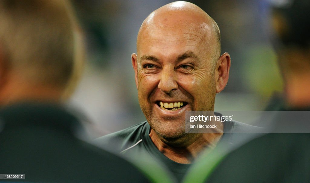 Darren Lehmann of Australia laughs after winning the second game of the One Day International Series between Australia and England at The Gabba on January 17, 2014 in Brisbane, Australia.