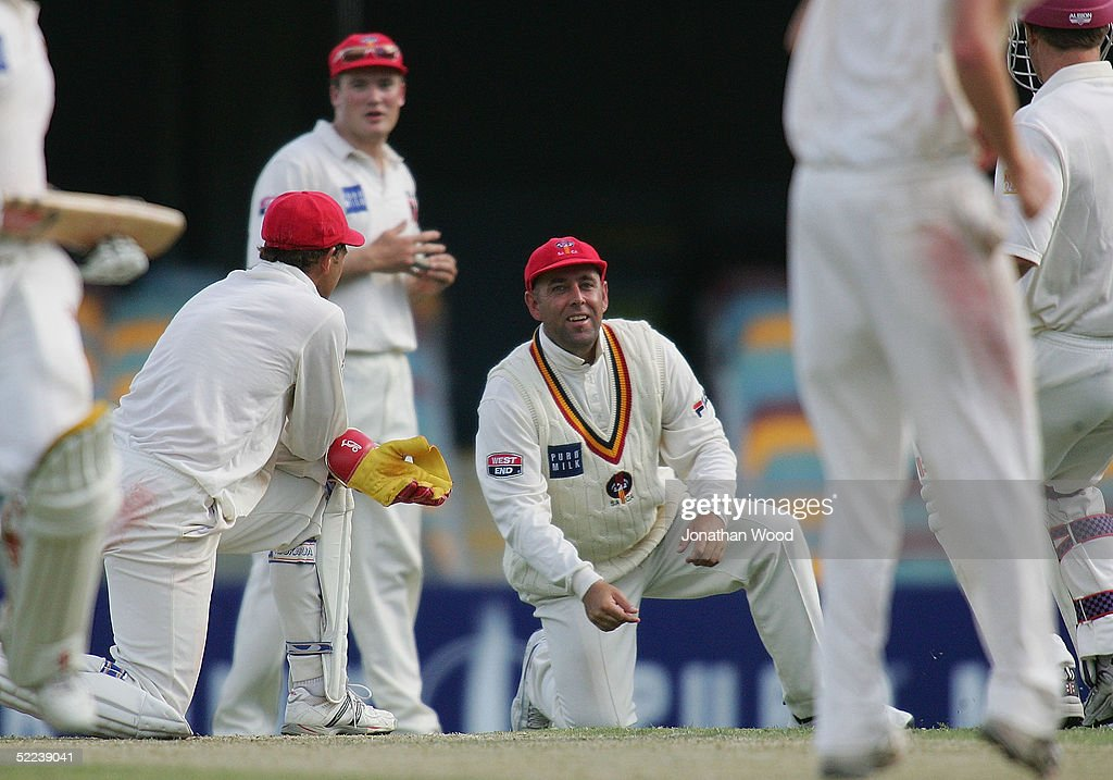 Darren Lehmann of the Redbacks laments after a dropped catch during day 2 of the Pura Cup match between the Queensland Bulls and South Australia Redbacks at the Gabba, February 25, 2005 in Brisbane, Australia
