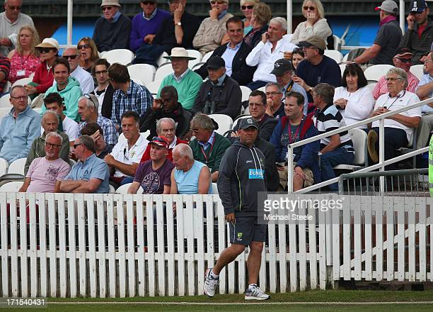 Darren Lehmann the Coach of Australia walks the boundary whilst watching during day one of the Somerset versus Australia tour match at The County...