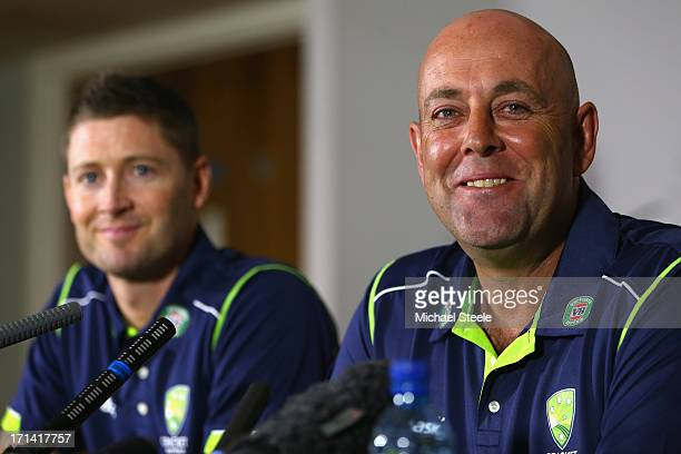 Darren Lehmann the new coach of Australia address the media alongside captain Michael Clarke during a Australia cricket press conference following...