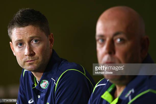 Darren Lehmann the new coach of Australia address the media alongside captain Michael Clarke during the Australia cricket press conference following...