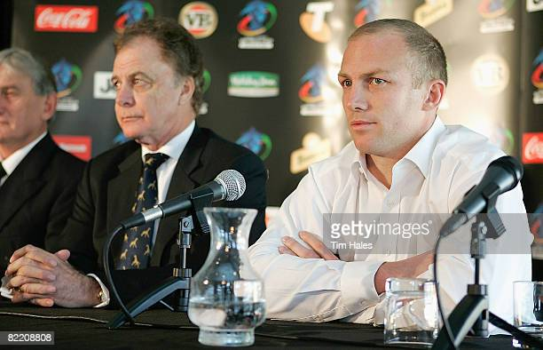 Darren Lockyer captain of the Australian Kangaroos right and Colin Love Rugby League World Cup Tournament Director attend a Rugby League World Cup...