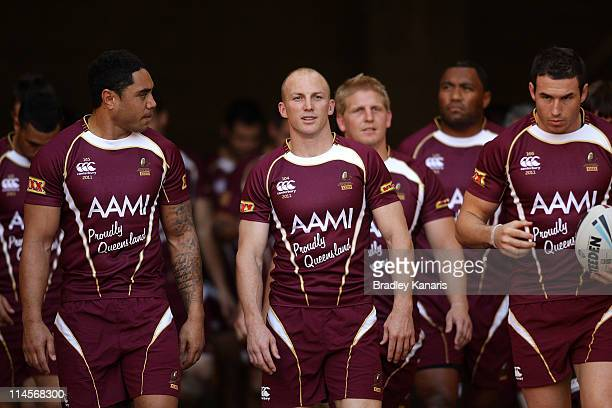 Darren Lockyer leads his team onto the field during a Queensland Maroons State of Origin training session at Suncorp Stadium on May 24 2011 in...