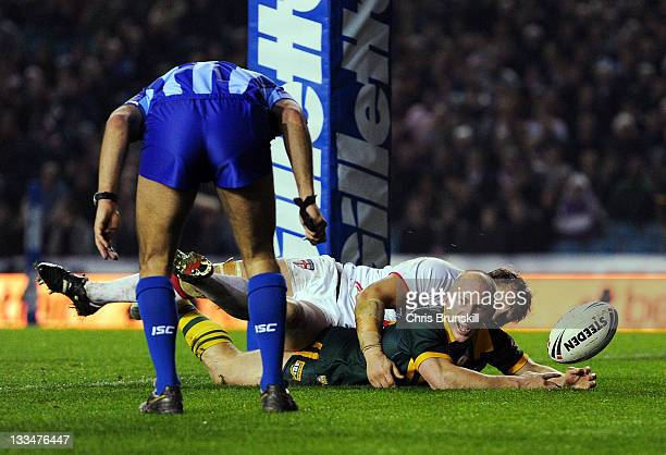 Darren Lockyer of Australia goes over for a try during the Four Nations Final between England and Australia at Elland Road on November 19 2011 in...