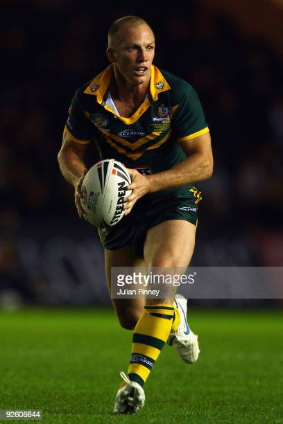 Darren Lockyer of Australia runs with the ball during the Gillette Four Nations Rugby League match between Australia and New Zealand at The...