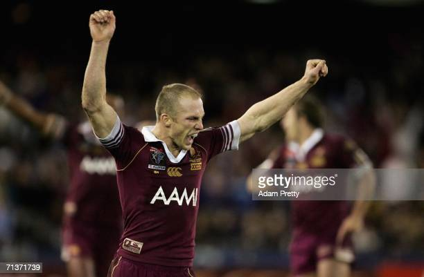 Darren Lockyer of Queensland celebrates after victory in the match between the New South Wales Blues and Queensland Maroons in the NRL State of...