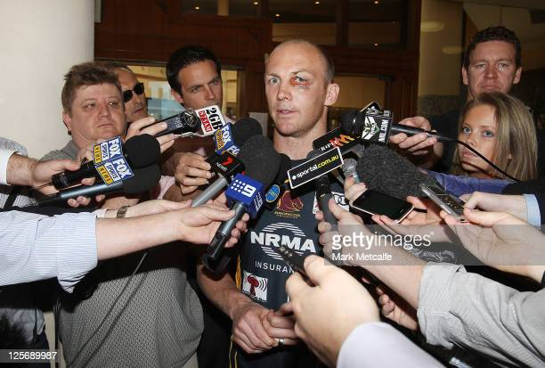 Darren Lockyer of the Brisbane Broncos speaks to the media at the Swiss Grand Bondi on September 21 2011 in Sydney Australia Lockyer announced he...