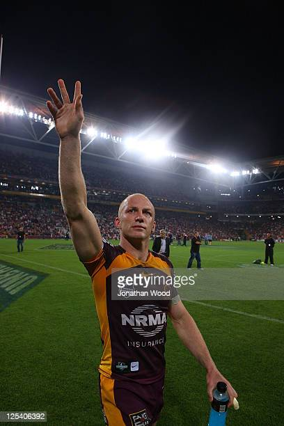 Darren Lockyer of the Broncos waves to the crowd after victory in the NRL second semi final match between the Brisbane Broncos and the St George...
