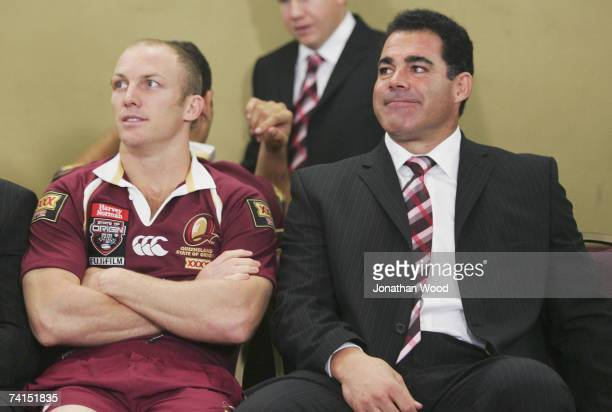 Darren Lockyer of the Maroons and Maroons coach Mal Meninga relax during the Queensland Maroons assembly at the Royal on the Park on May 15 2007 in...