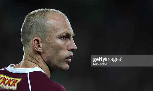 Darren Lockyer of the Maroons looks on during game three of the ARL State of Origin series between the Queensland Maroons and the New South Wales...