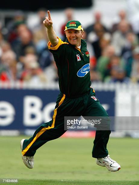 Darren Maddy of Leicestershire celebrates after taking a catch during the Twenty20 Cup Semi Final match between Essex and Leicestershire at Trent...