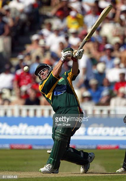 Darren Maddy of Leicestershire hits out during the Glamorgan v Leicestershire Twenty20 cup Semi Final match at Edgbaston Cricket Ground on August 7...