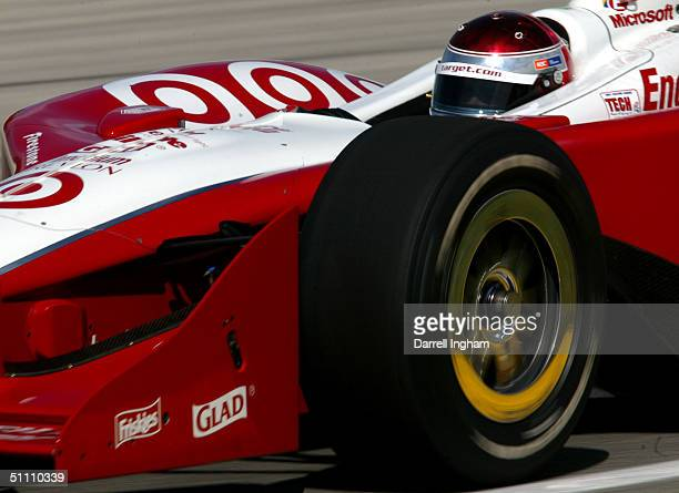 Darren Manning drives the Target Chip Ganassi Racing Toyota GForce during practice for the Indy Racing League IndyCar Series Menards AJ Foyt Indy 225...