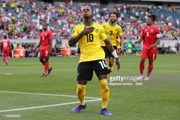 Darren Mattocks of Jamaica celebrates after scoring a goal to make it 1-0 during the 2019 CONCACAF Gold Cup Quarter Final match between Jamaica and...