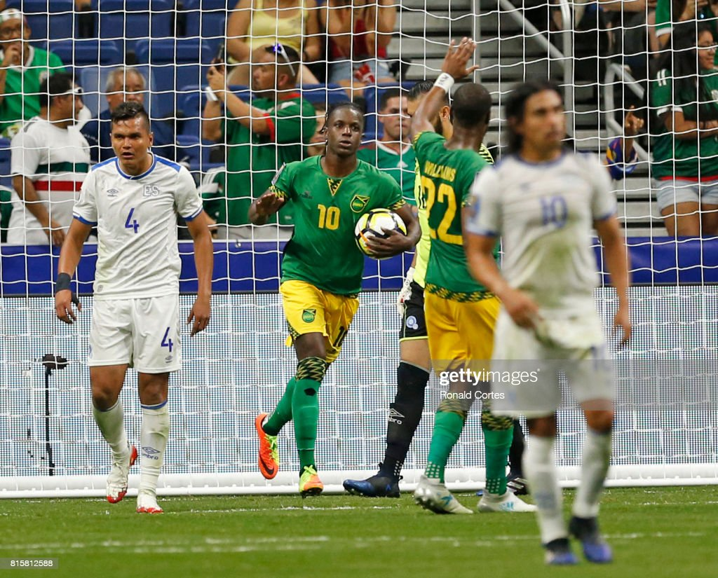 Darren Mattocks #10 of Jamaica grabs the ball after scoring against El Salvador during the 2017 CONCACAF Gold Cup at Alamodome on July 16, 2017 in San Antonio,Texas.