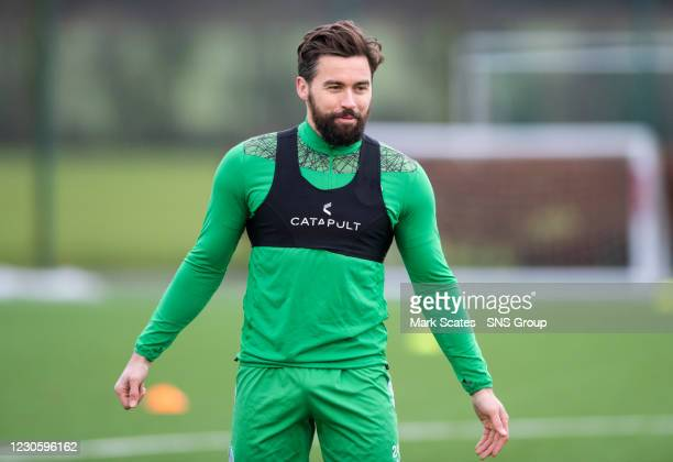 Darren McGregor during a Hibernian training session at the Hibernian Training Centre on January 15 in Edinburgh, Scotland.