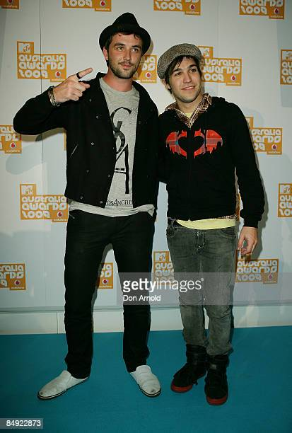 Darren McMullen and Pete Wentz arrive for the announcement of the nominations for Vodafone MTV Australia Awards 2009 at the MTV Gallery on February...