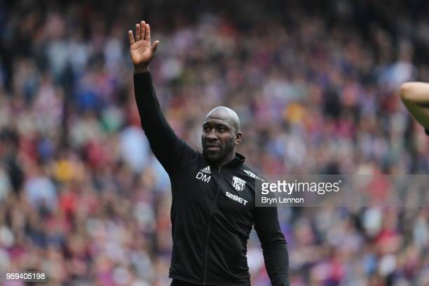 Darren Moore Caretaker Manager of West Bromwich Albion shows appreciation to the fans after the Premier League match between Crystal Palace and West...