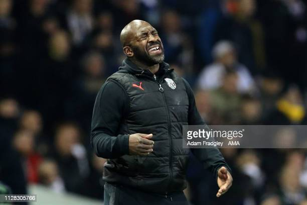 Darren Moore head coach / manager of West Bromwich Albion reacts during the Sky Bet Championship match between Leeds United and West Bromwich Albion...