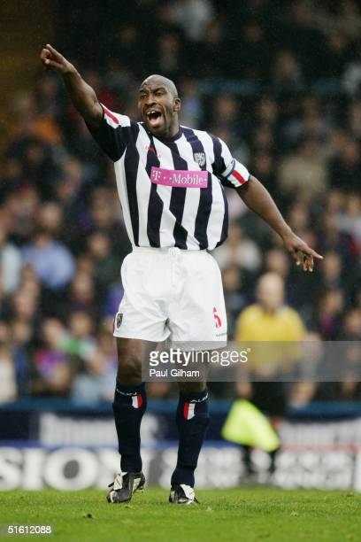 Darren Moore of West Bromwich Albion protests during the Barclays Premiership match between Crystal Palace and West Bromwich Albion at Selhurst Park...