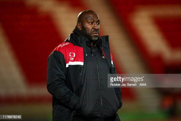 Darren Moore the head coach / manager of Doncaster Rovers during the Leasingcom Trophy match fixture between Doncaster Rovers and Manchester United...