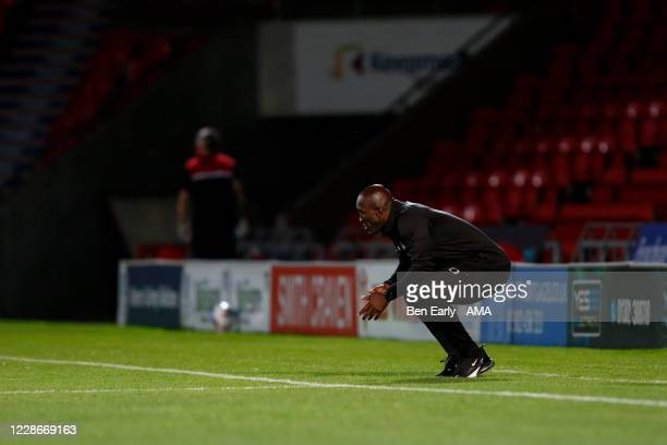 Darren Moore the Manager / Head Coach of Doncaster Rovers during the EFL Trophy match between Doncaster Rovers v Bradford City at Keepmoat Stadium on...