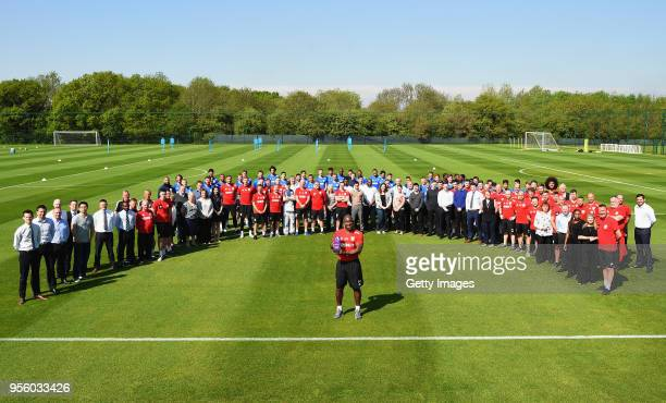 Darren Moore Winner of the Barclays Manager of the Month Award April 2018 poses with West Bromwich Albion FC staff at the West Bromwich Albion FC...
