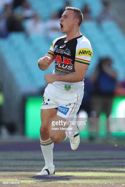 Darren Nicholls of the Panthers scores a try during the 2017 State Championship Final between the Penrith Panthers and Papua New Guinea Hunters at...