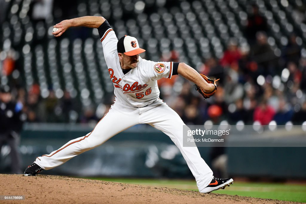 Darren O'Day #56 of the Baltimore Orioles throws a pitch in the ninth inning against the Toronto Blue Jays at Oriole Park at Camden Yards on April 10, 2018 in Baltimore, Maryland.