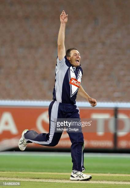 Darren Pattison of the Bushrangers celebrates after dismissing George Bailey of the Tigers during the Ryobi One Day Cup match between Victorian...