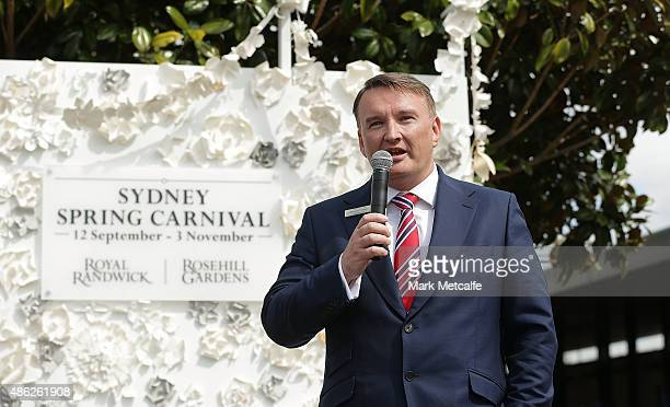 Darren Pearce speaks during the 2015 Sydney Spring Carnival launch at Royal Randwick Racecourse on September 3 2015 in Sydney Australia