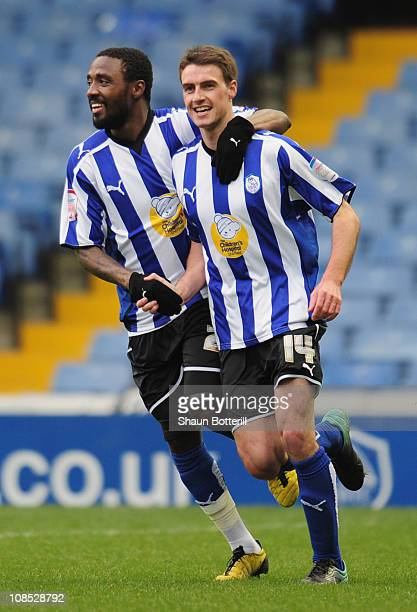 Darren Potter of Sheffield Wednesday celebrates with team-mate Jermaine Johnson after scoring during the FA Cup sponsored by E.On 4th Round match...