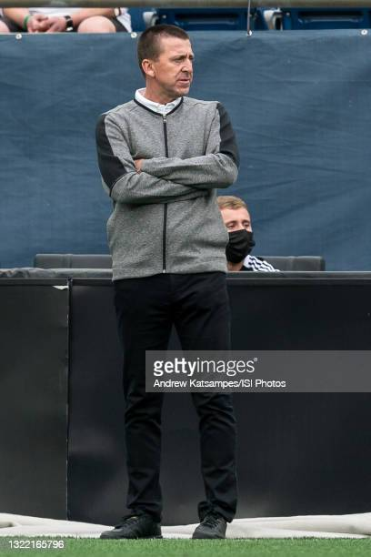 Darren Powell head coach of Fort Lauderdale CF during a game between Fort Lauderdale CF and New England Revolution II at Gillette Stadium on May 28,...
