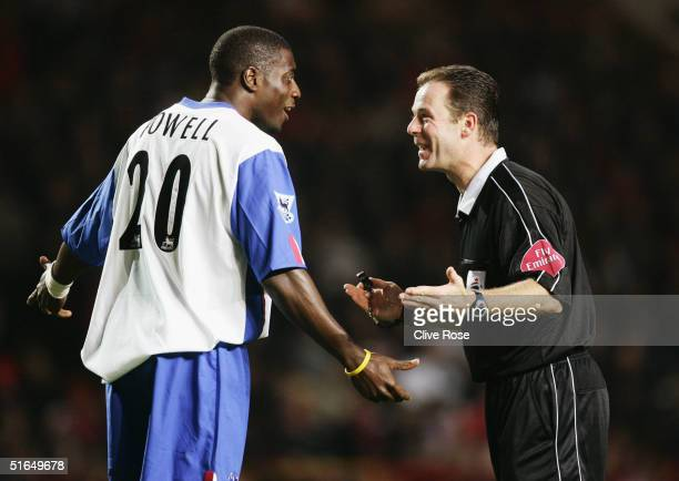 Darren Powell of Crystal Palace and referee Rob Styles during the Carling Cup third round match between Charlton Athletic and Crystal Palace at The...