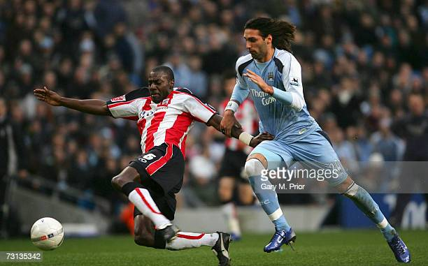 Darren Powell of Southampton battles for the ball with Georgios Samaras of Manchester City during the FA Cup sponsored by E.ON Fourth Round match...