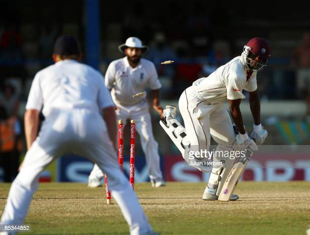 Darren Powell of The West Indies is bowled by James Anderson on Day five of The 5th Test Match between The West Indies and England played at The...