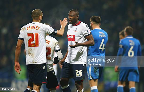 Darren Pratley of Bolton Wanderers celebrates scoring his team's third goal with his team mate Shola Ameobi during the Emirates FA Cup Third Round...