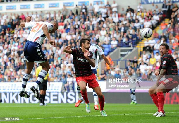 Darren Pratley of Bolton Wanderers heads the opening goal during the Sky Bet Championship match between Bolton Wanderers and Reading at Reebok...