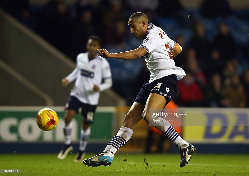Darren Pratley of Bolton Wanderers scores during the Sky Bet Championship match between Millwall and Bolton Wanderers at The Den on December 19, 2014 in London, England.