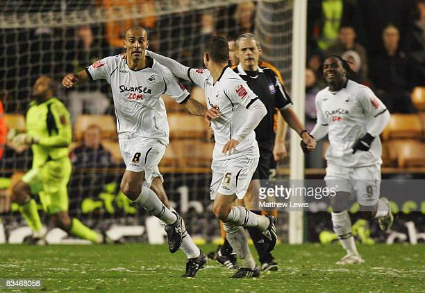 Darren Pratley of Swansea celebrates his goal during the CocaCola Championship match between Wolverhampton Wanderers and Swansea City at Molineux on...